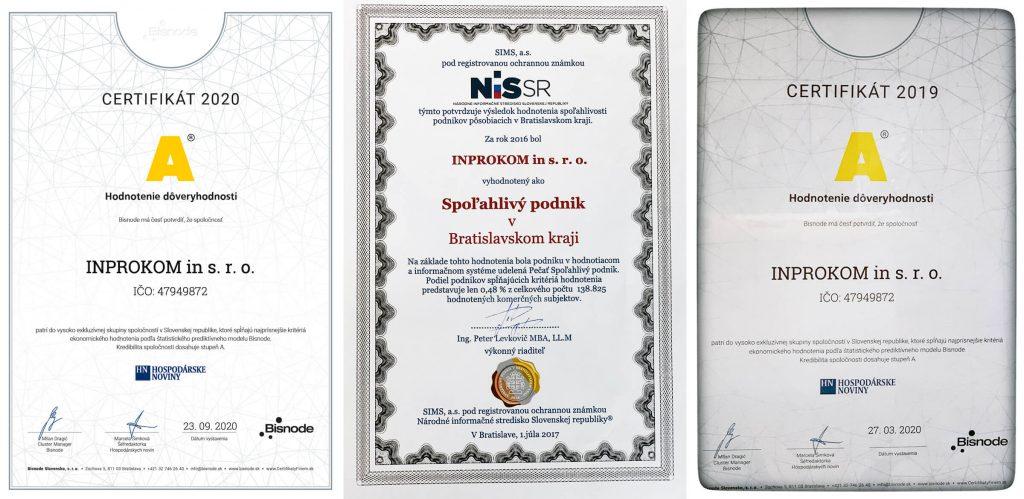 Certifikáty spoľahlivosti Inprokom